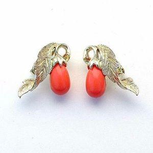 Sarah Coventry Vintage Earrings Melon Orange